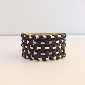 Banana republic gold and black leather braid cuff