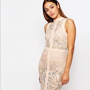 Misguided prem leather look Lace pencil dress.