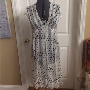 Dresses & Skirts - 100% silk black and white polka dot dress