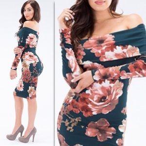 Teal Green Floral Print off the Shoulder Dress
