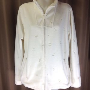 Denim & Co Jackets & Blazers - Denim & Co. winter white polar fleece jacket