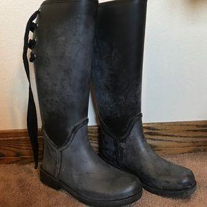Black Coach lace up rain boots