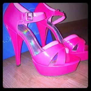 Deb Shoes - New Neon Pink Heels