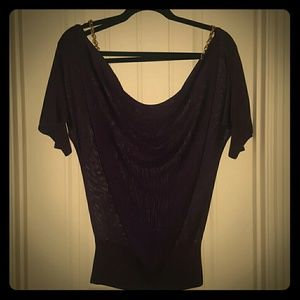 BEBE Royal Purple top with gold chain links