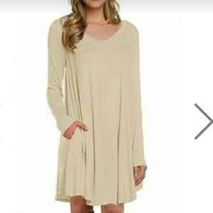 Apricot Long Sleeve Casual Loose T-shirt Dress- L