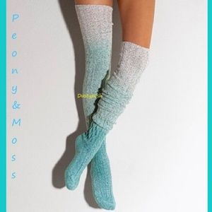 Peony and Moss Accessories - Biscay Bay Marled Thigh High Cable Knit Socks Blue