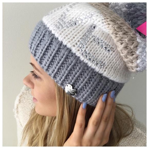 a63438ad888e29 Betsey Johnson Accessories | Cream And Silver Pom Pom Love Hat ...