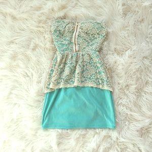 Boutique Lace & Mint Peplum Dress with Gold Zipper