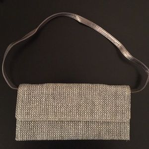 SALE!! NWOT Silver Metallic Woven Clutch!!