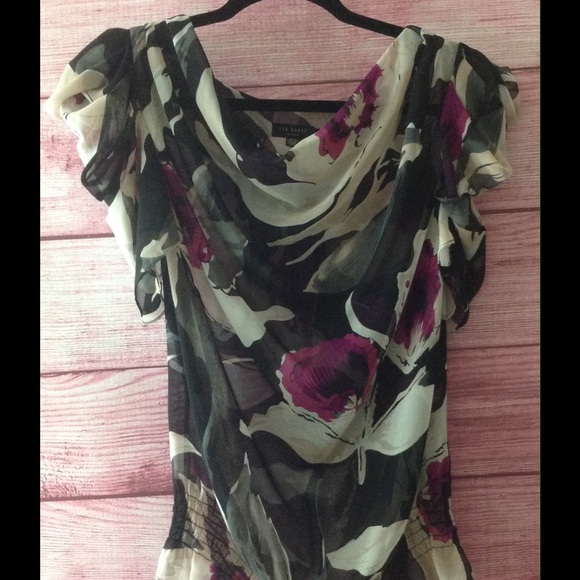 719a06ff06256a TED BAKER pink black floral blouse top size TED 2