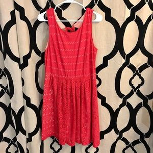 Red Toned Crochet Party Dress