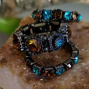 Jewelry - Blue Zircon & Topaz Crystal Stacking Rings Set