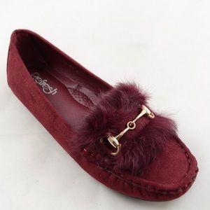 Shoes - 🚨Last Pair🚨Burgundy Faux Fur Moccasins Shoes