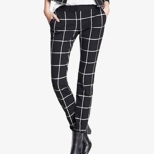 Express Black + White Check Columnist Pant
