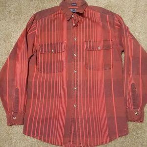 Vtg Sasson Red Denim Burnout Shirt sz L