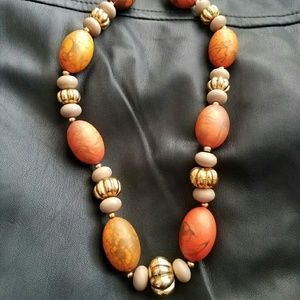Orange Red Gold Stone Bead Necklace Fine Jewelry