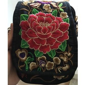 Handbags - Small Red Floral Embroidery Messenger Crossbody
