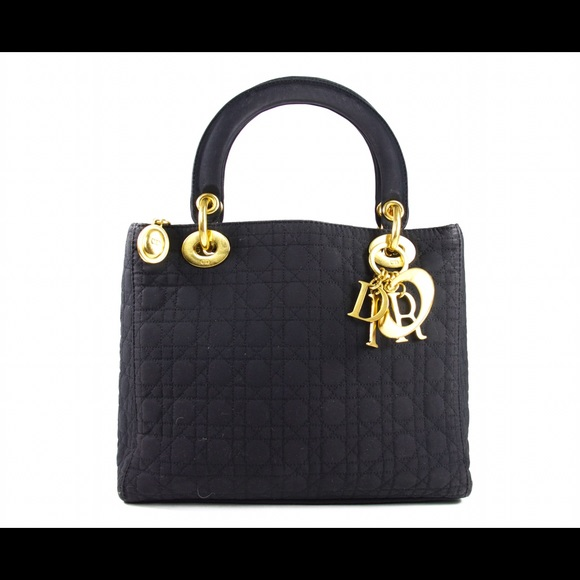 Christian Dior Small Lady Dior In Black Nylon