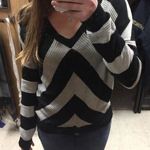 Sweaters - Gorgeous black and light gray striped sweater