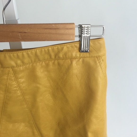 81% off Zara Dresses & Skirts - Mustard vegan leather skirt from ...