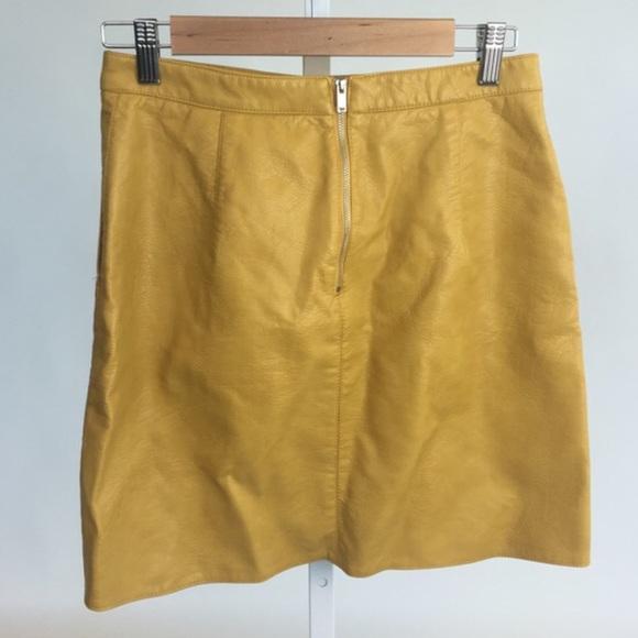 81% off Zara Dresses & Skirts - Mustard vegan leather skirt from ...