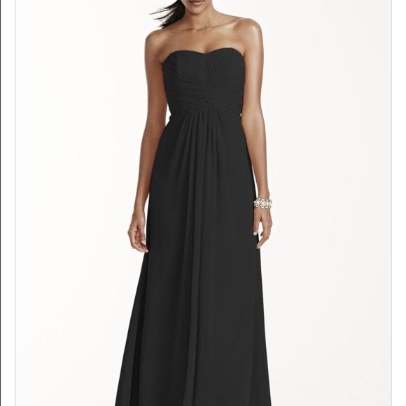 5ad84cbeb Dresses | Davids Bridal Black Strapless Chiffon Dress F1555 | Poshmark
