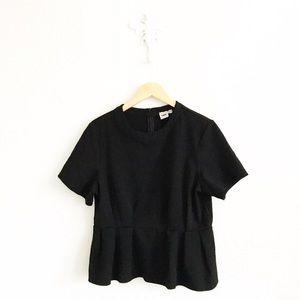 ASOS Tops - ASOS Black Ponte Knit Short Sleeve Peplum Shirt