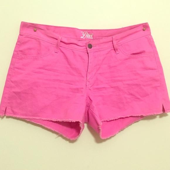 64% off Old Navy Pants - Old Navy Hot Pink Denim Shorts w Belt ...
