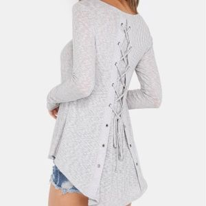 Lace Up Scoop Neck Heather Gray Top. Price firm