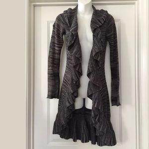 Nieman Marcus gray ruffled long Cardigan sweater S