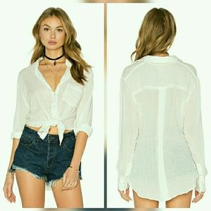 Free People Tops - Free People Ivory White That's a Wrap Shirt
