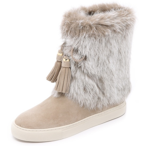 Tory Burch Designer Shoes, Anjelica Suede and Rabbit Fur Boots