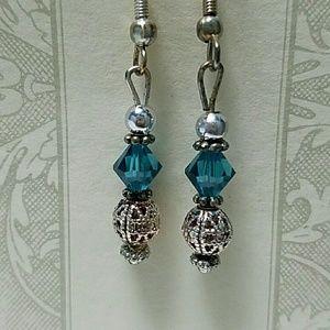 Swarovski Jewelry - Swarovski Aqua marine Crystal Earrings