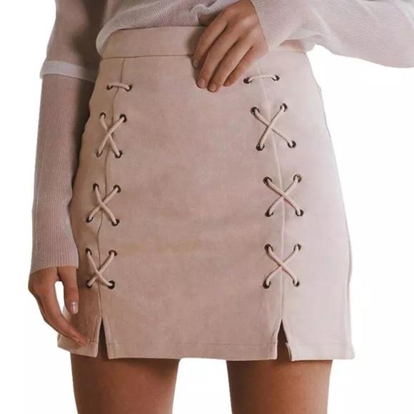 a2086a961 Skirts | Vegan Suede Crisscross Strap Light Pink Mini Skirt | Poshmark