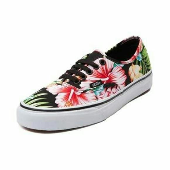 vans authentic hawaiian floral skate shoe