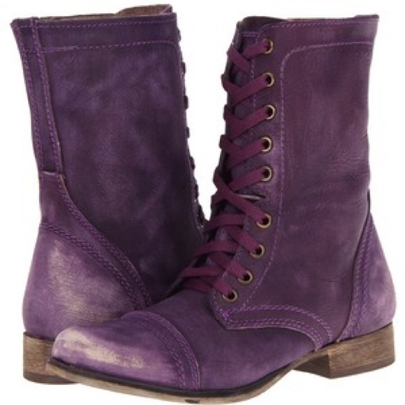 49efd97fec1 Steve Madden Troopa Purple Leather Combat Boot. M 5847695a7fab3a19d303a300