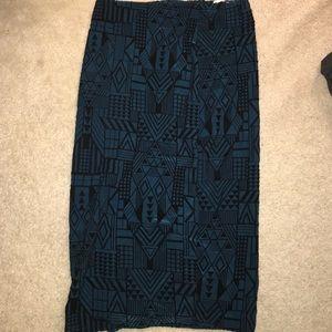 Dark teal Velvet midi skirt