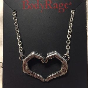 Body Rage Hand Heart Necklace