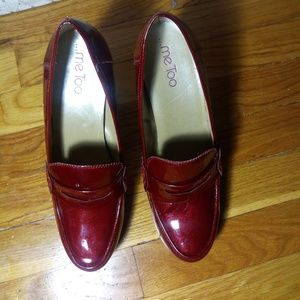 e54ec7844ce me too Shoes - Metallic red patent leather penny loafer pumps