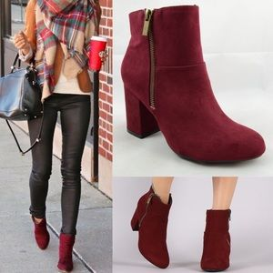1 HR SALETANYA chic suede booties - WINE