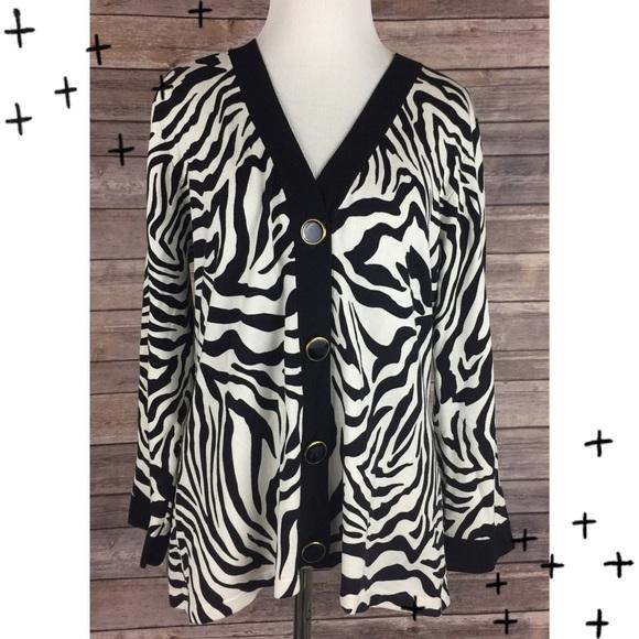 Zebra Print Cardigan Sweater 71