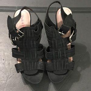 Pink & Pepper Black Sling Back high Heels Size 9.5