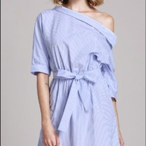 Blue Periwinkle Stripe Off The Shoulder Tunic
