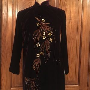 Vintage 1960's Chinese Handpainted Velvet Dress 
