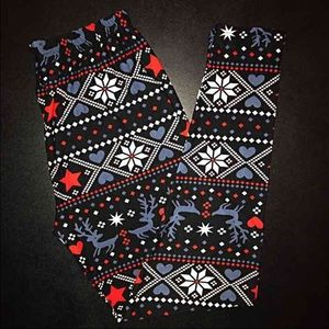 Buttery Soft Snowflake Reindeer Holiday Legging TC