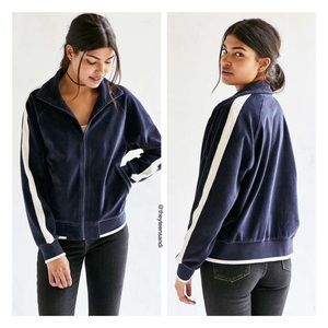 Urban Outfitters BDG Blue Velour Duo Track Jacket
