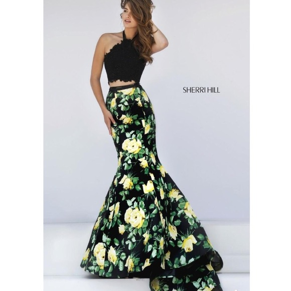 Black and Yellow Long Prom Dresses