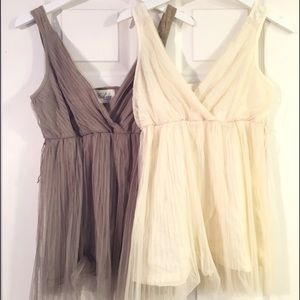 Bohme Tops - Cream & Olive Empire Tanks