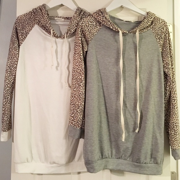 Tops - Grey Leopard Sleeve Hoodie