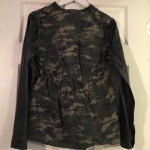 Jackets & Coats - Camp & Leatherette Sleeve Jacket